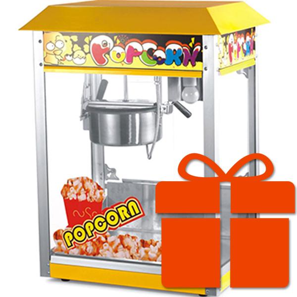 Желтый аппарат для попкорна с подарком
